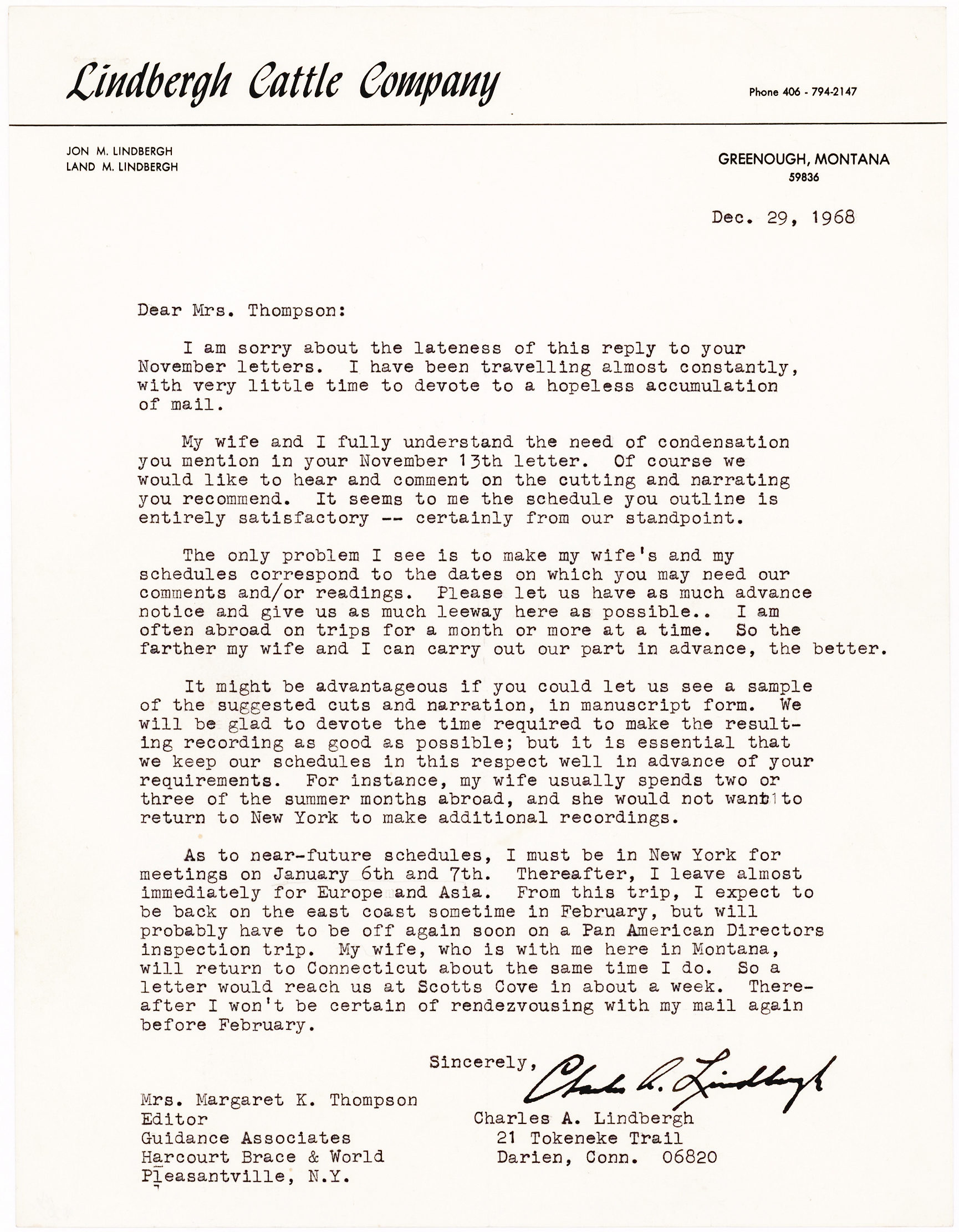 Typed Letter Signed by Charles Lindbergh, the American aviator who made the very first solo non-stop transatlantic flight – written on the letterhead of the Lindbergh Cattle Company