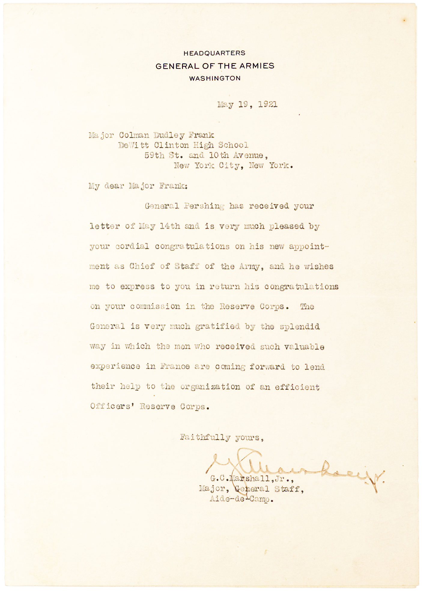 Letter Signed by U.S. Army general, secretary of state, secretary of defense and Nobel Prize Winner George C. Marshall, on letterhead of the Headquarters of the General of the Armies