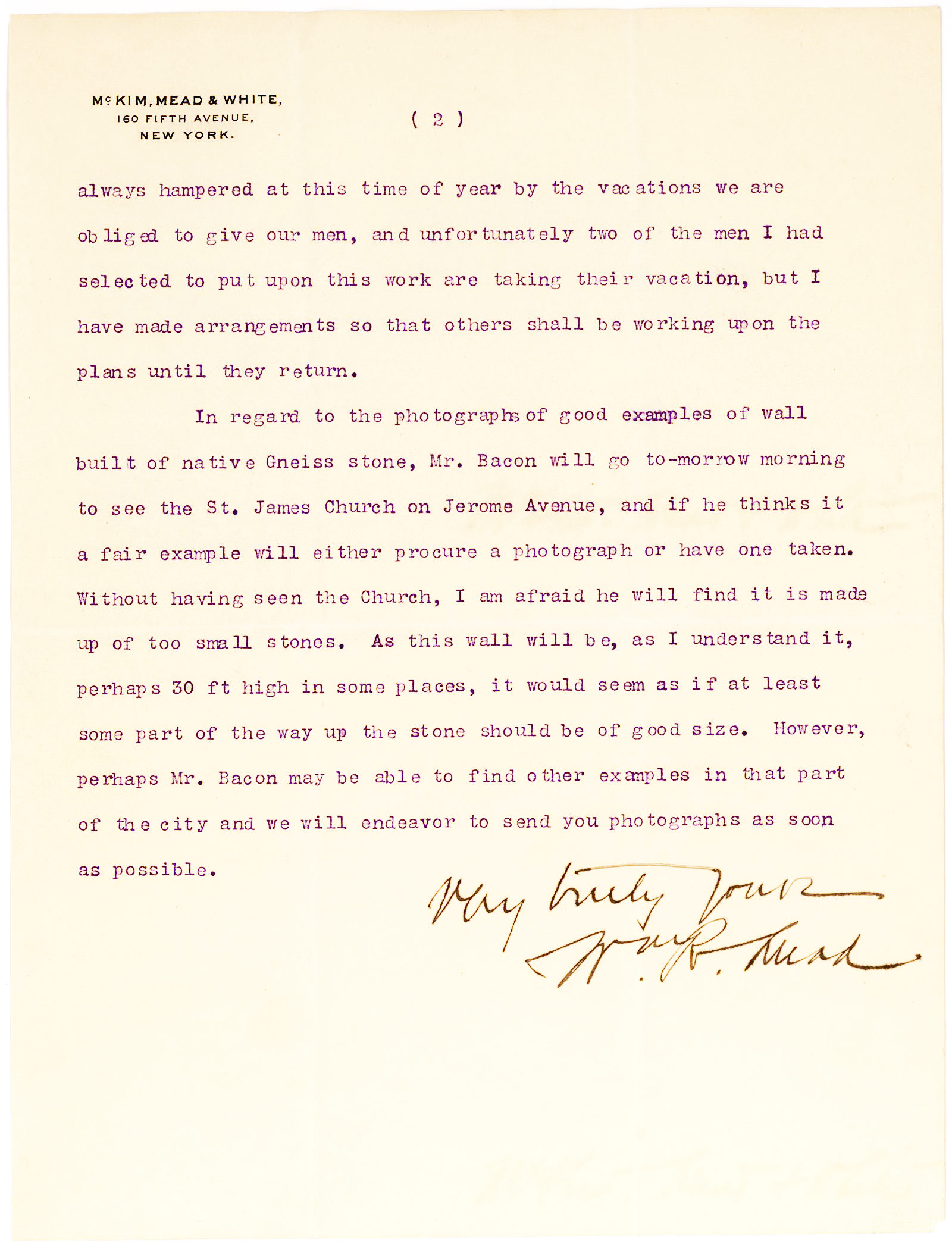 William R. Mead, American architect and principal of McKim, Mead & White, writes to the chancellor of New York University regarding the construction of the university's library