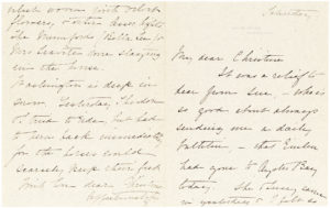 "34608Letter from the First Lady and Second Wife of Theodore Roosevelt: ""Each Saturday Theodore & I have breathed sighs of relief"""