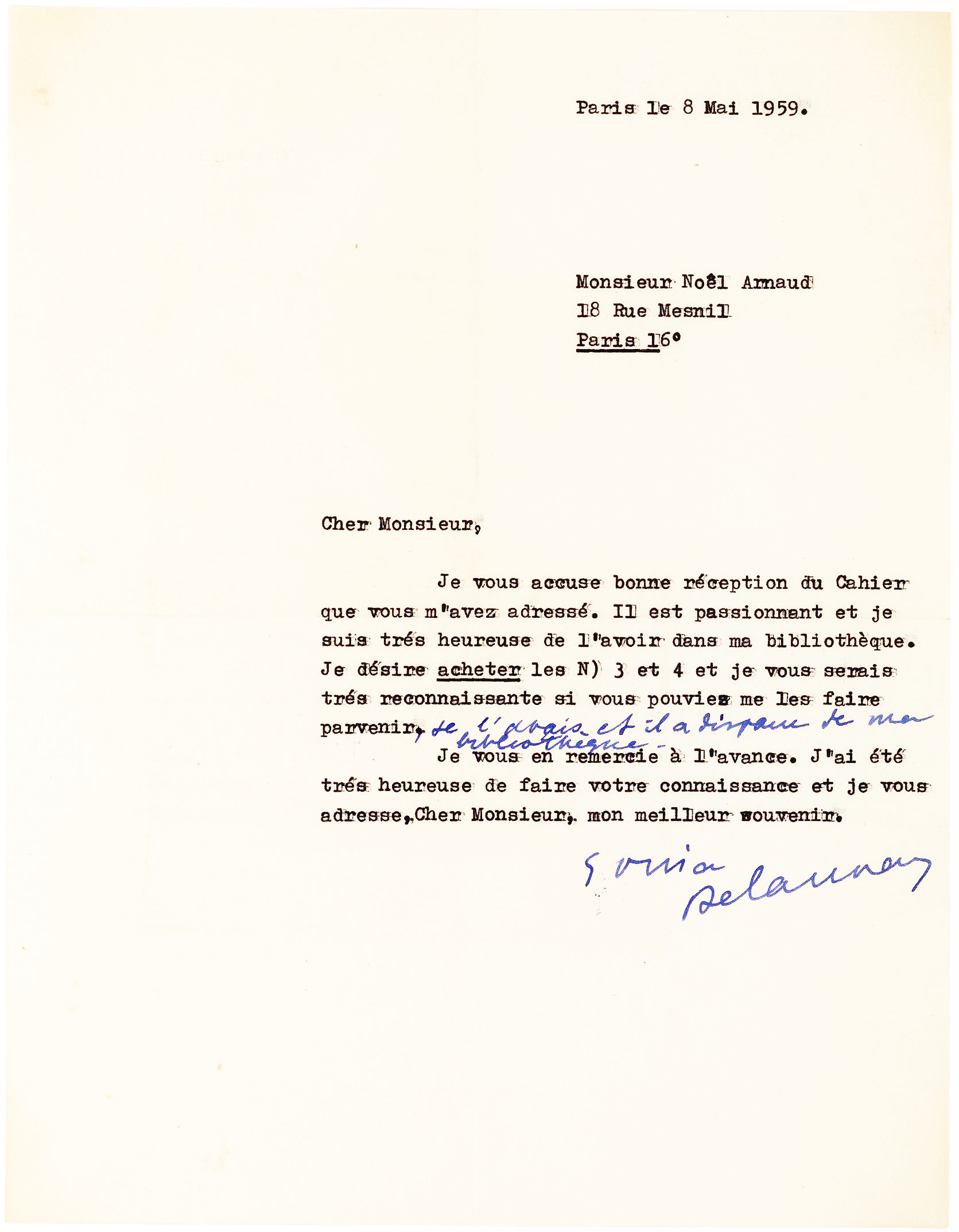 Typed Letter Signed by the Ukrainian-French Artist and Fashion Designer, One of the Main Practitioners of Orphism, or Orphic Cubism