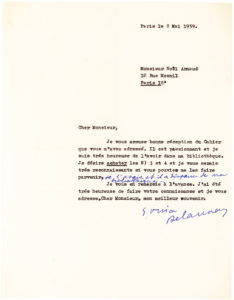 34927Typed Letter Signed by the Ukrainian-French Artist and Fashion Designer, One of the Main Practitioners of Orphism, or Orphic Cubism