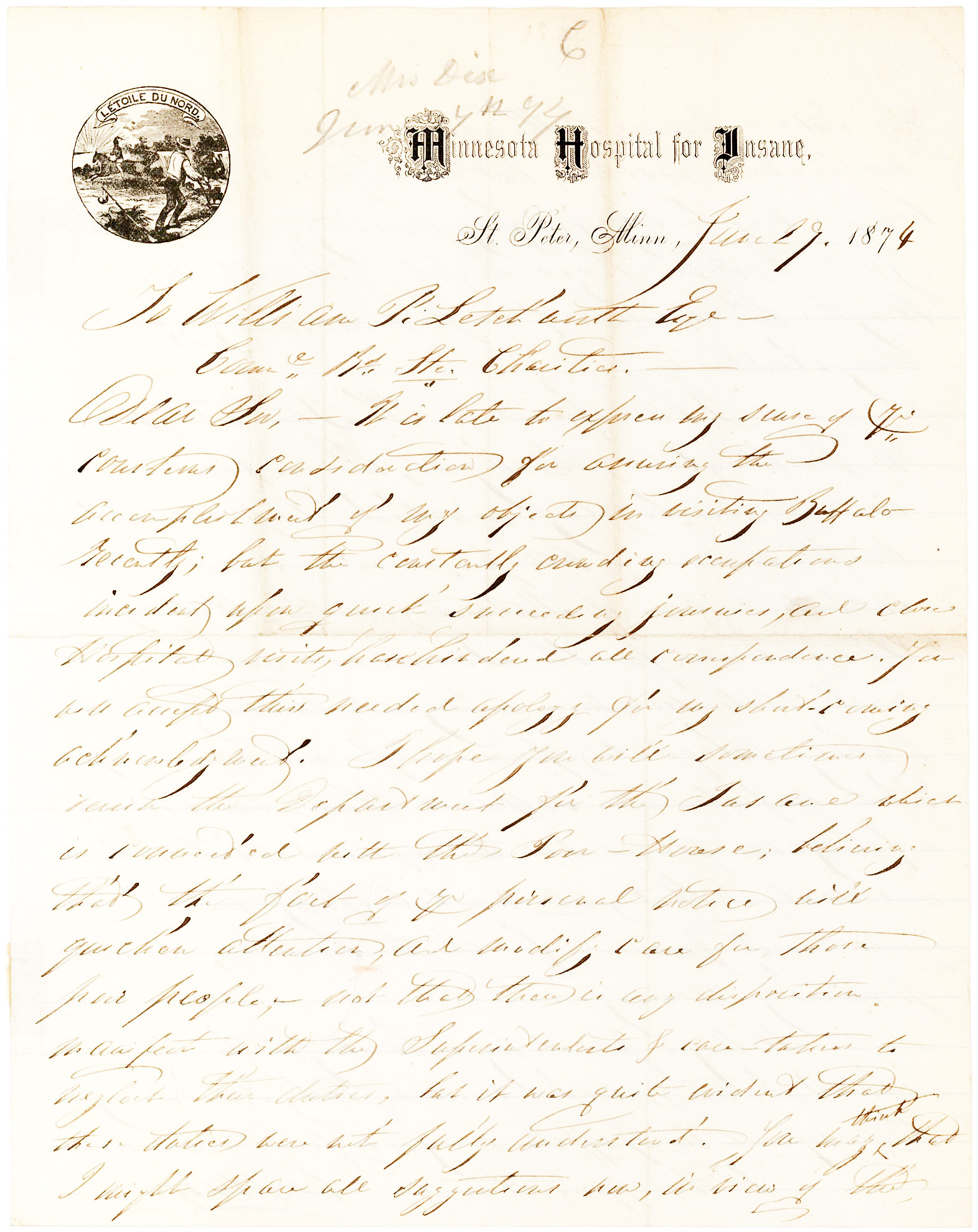 """Autograph Letter on """"Minnesota Hospital for Insane"""" Letterhead, from the American Reformer who Helped Established the First American Asylums for the Mentally Ill"""