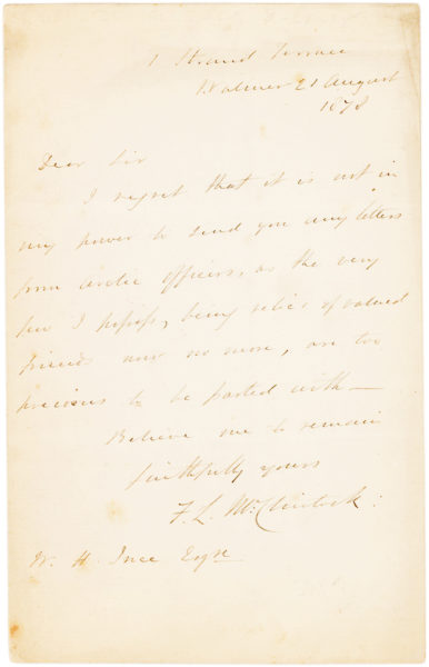 "Autograph Letter Signed by the English Explorer who Reached the Arctic ""Farthest North"" in 1827, a Record Held for Nearly 50 Years"