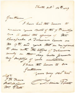 "34984ALS from the American Naval Officer and Commander of the USS Constitution, Advising of his Inability ""to attend the opening of the Chesapeake & Delaware Canal"""