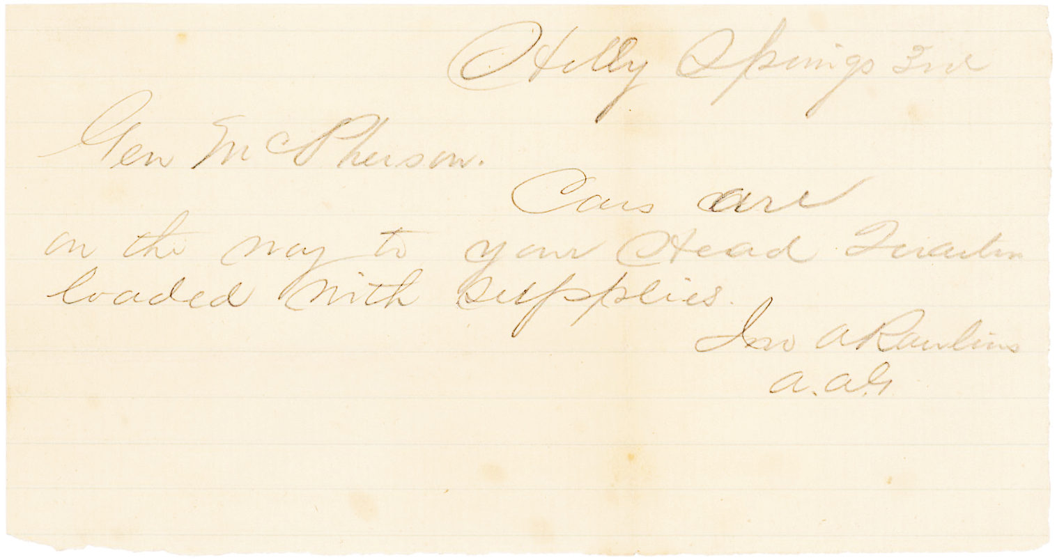 President Grant's Secretary of War John Rawlins to Union General McPherson at the Beginning of the Vicksburg Campaign