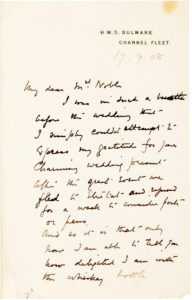 34632A Letter from the Famed English Antarctic Explorer on the Subject of His Wedding and Honeymoon