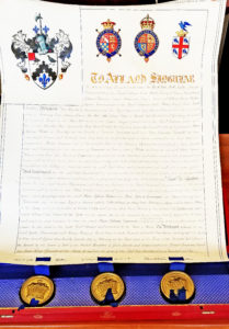35440Handwritten Royal License Granting the Use of the Last Name and Arms of Luxmoore, in the Original Red Leather Box with Embossed Decoration and the Gilt Monogram of King Edward VII