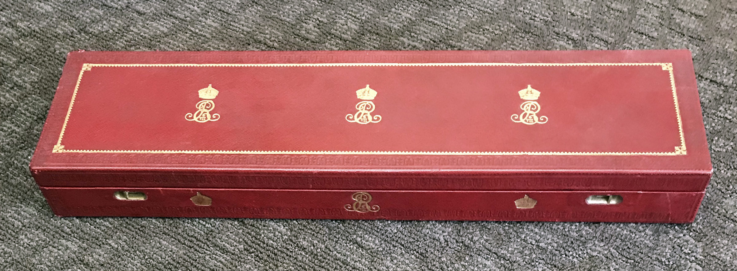 Handwritten Royal License Granting the Use of the Last Name and Arms of Luxmoore, in the Original Red Leather Box with Embossed Decoration and the Gilt Monogram of King Edward VII