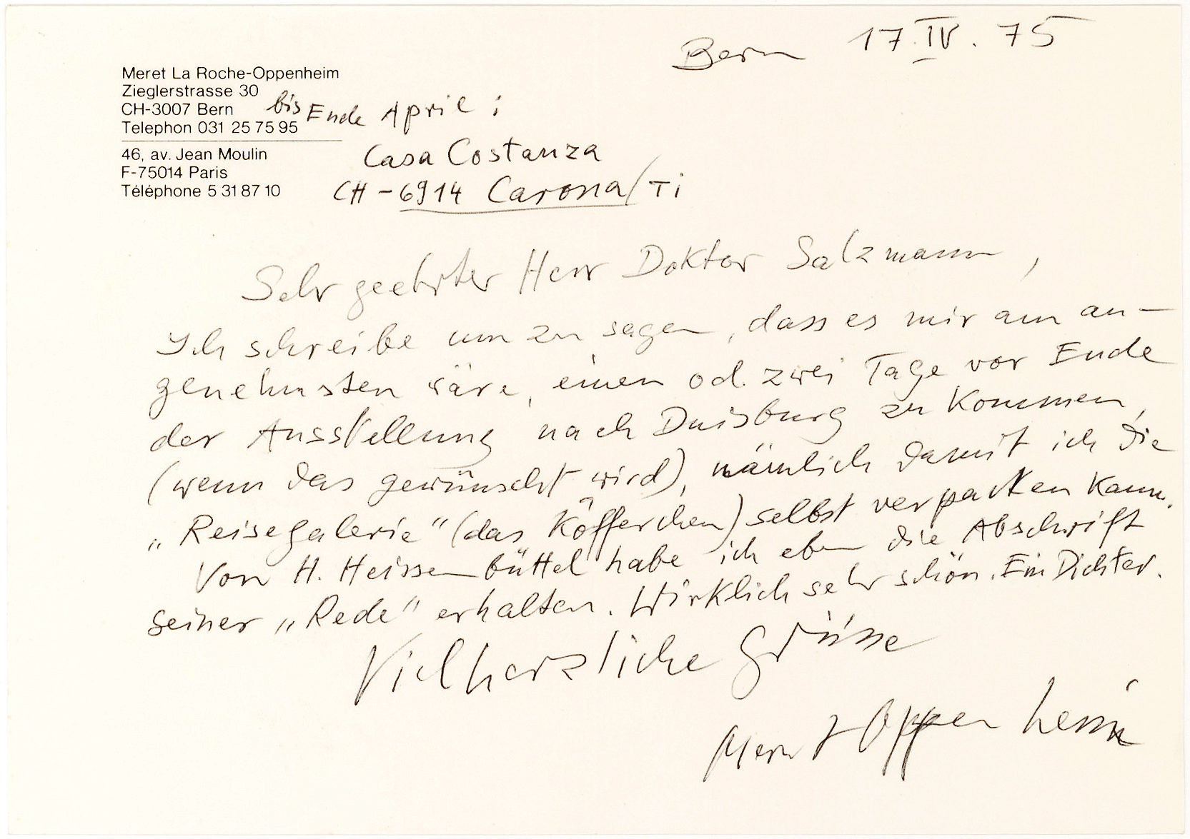ALS Written on Her Personal Stationery from the Swiss-German Artist Who Was the Leading Female Surrealist
