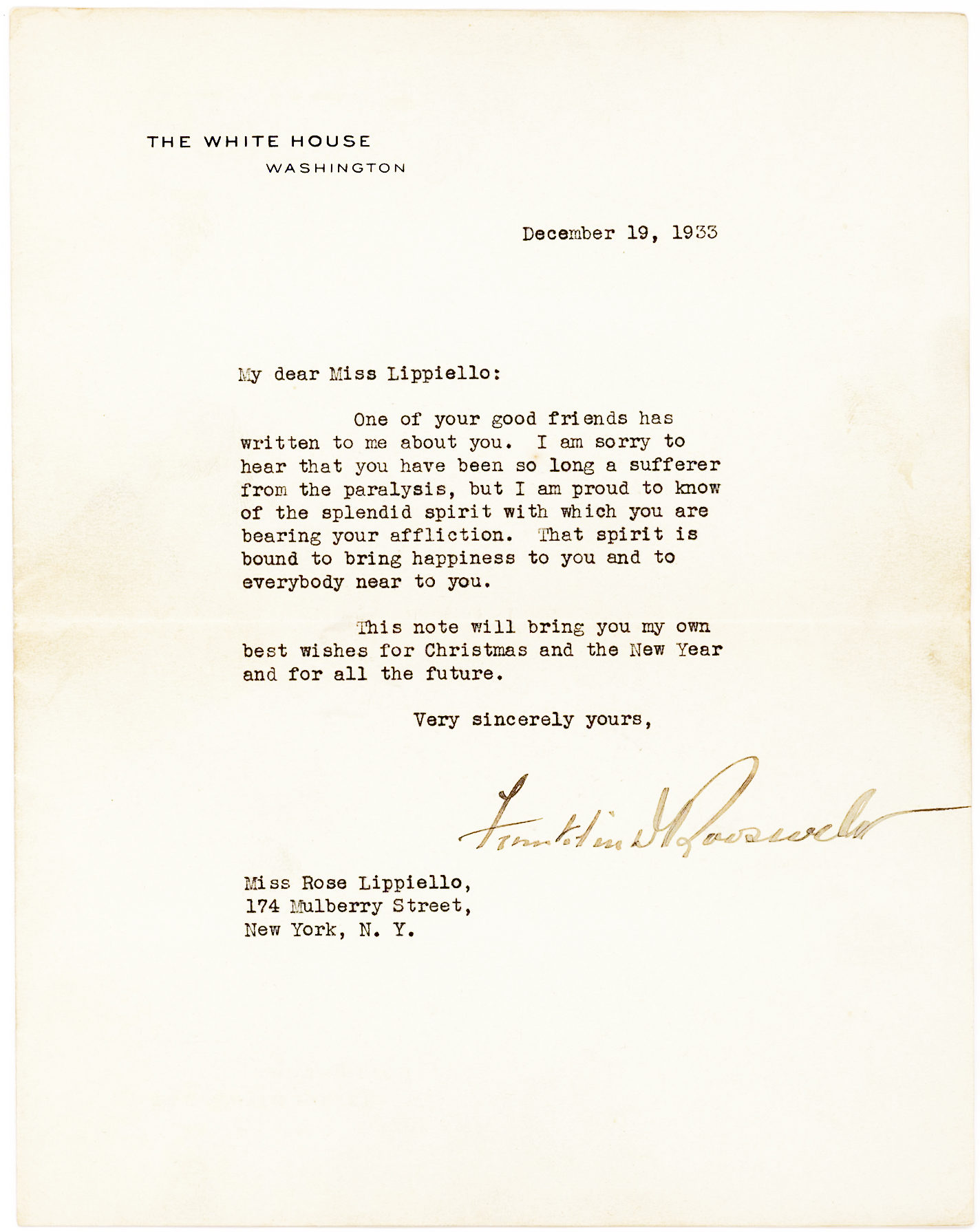 TLS as President to a Young Girl about Polio