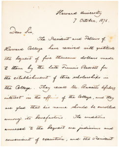 Rare Early Letter by the President of Harvard about a Bequest