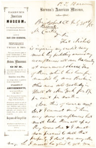 36322Autograph Letter Signed by the American Showman and Entrepreneur, on Financial Investments