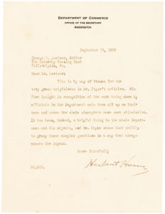"36383Herbert Hoover Letter to the Editor of the Saturday Evening Post: ""… A way that always amazes the layman"""