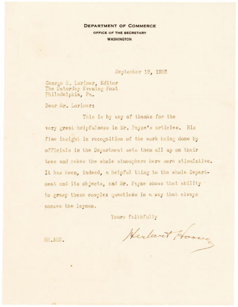 Herbert Hoover Thanks the Wife of Publishing Giant George H. Lorimer for her Compliments on his Speech in Cleveland