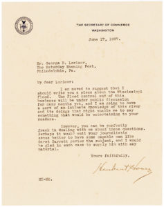 36390Typed Letter from Herbert Hoover about the Great Mississippi Flood of 1927, the Most Destructive River Flood in the History of the United States