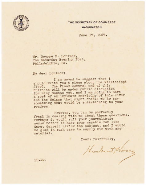 Typed Letter from Herbert Hoover about the Great Mississippi Flood of 1927, the Most Destructive River Flood in the History of the United States