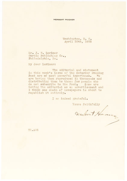 "Herbert Hoover Letter to the Editor of the Saturday Evening Post: ""… A way that always amazes the layman"""
