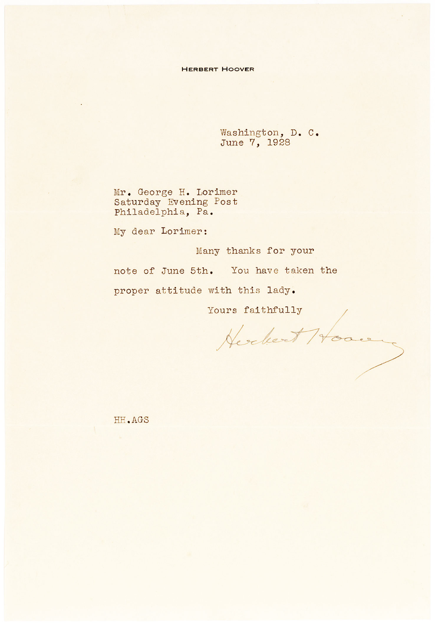 Letter of Thanks on his Personal Stationery to The Saturday Evening Post's Editor George H. Lorimer