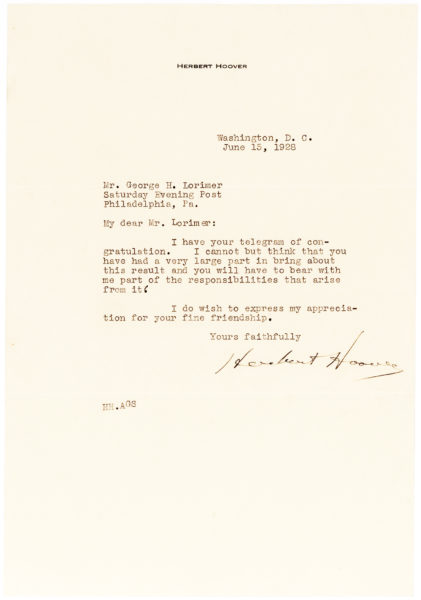 Herbert Hoover Thanks his Friend, Saturday Evening Post Editor George Lorimer, for Complimenting his Speech