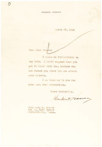 36440Former U.S. President Herbert Hoover Advises on How to Get Tickets to his Upcoming Speech in Philadelphia