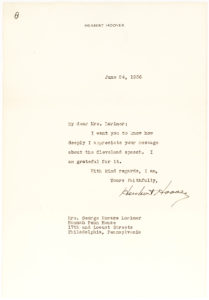36459Herbert Hoover Thanks the Wife of Publishing Giant George H. Lorimer for her Compliments on his Speech in Cleveland