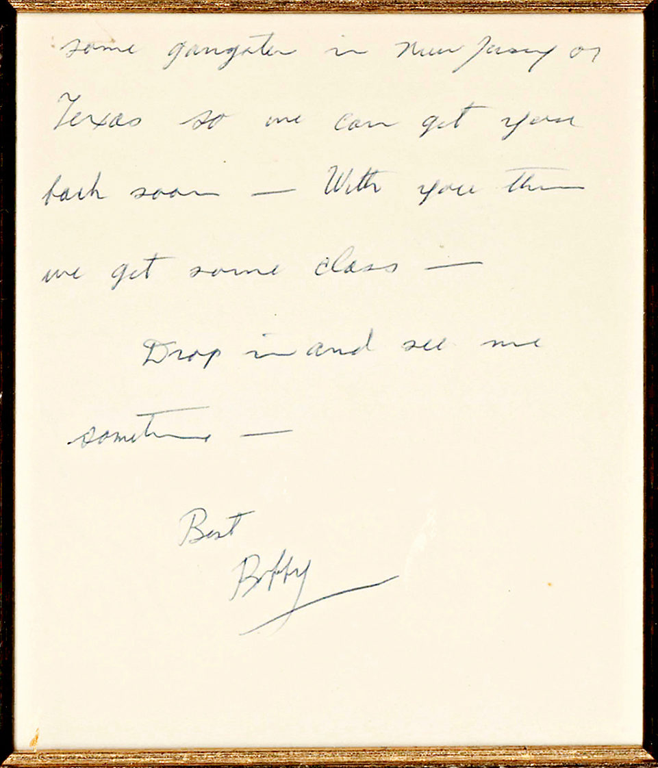 In a Framed Autograph Letter, RFK Jokes about Gangsters to Pioneering Washington Journalist Sarah McClendon