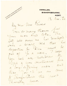 "36841Autograph Letter Confiding his Inability to Visit Due to the Illness of ""The Lady who owns me"""
