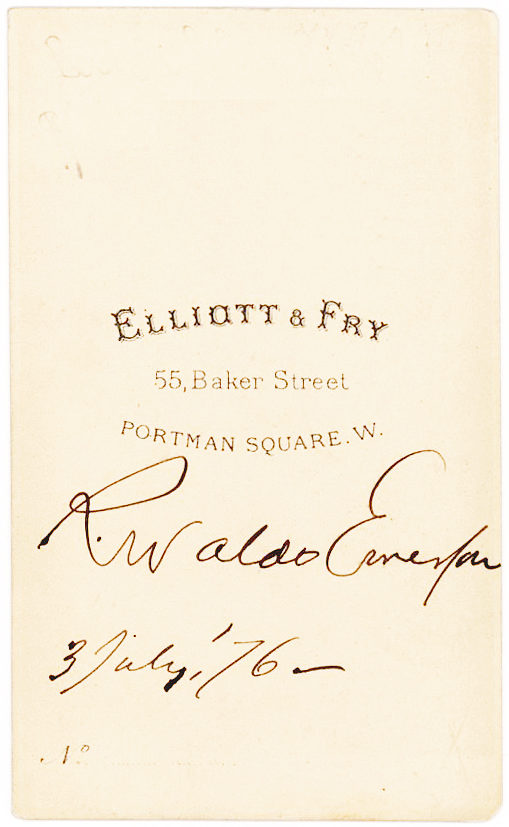 Magnificent Elliott & Fry Carte-de-Visite Signed Photograph of the American Poet and Essayist