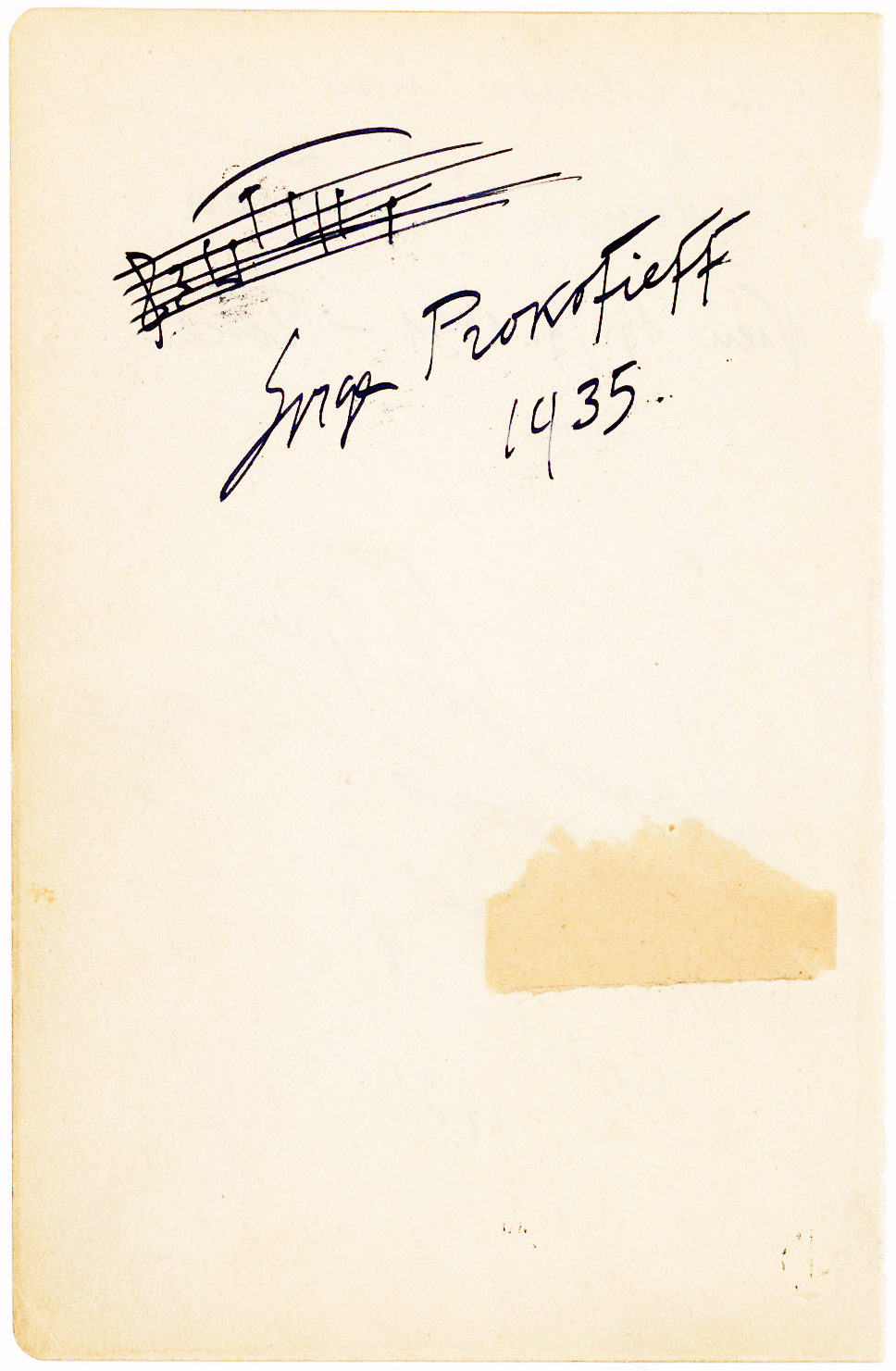 Boldly Penned Musical Quotation from the Opening of His Popular Piano Concerto No. 3
