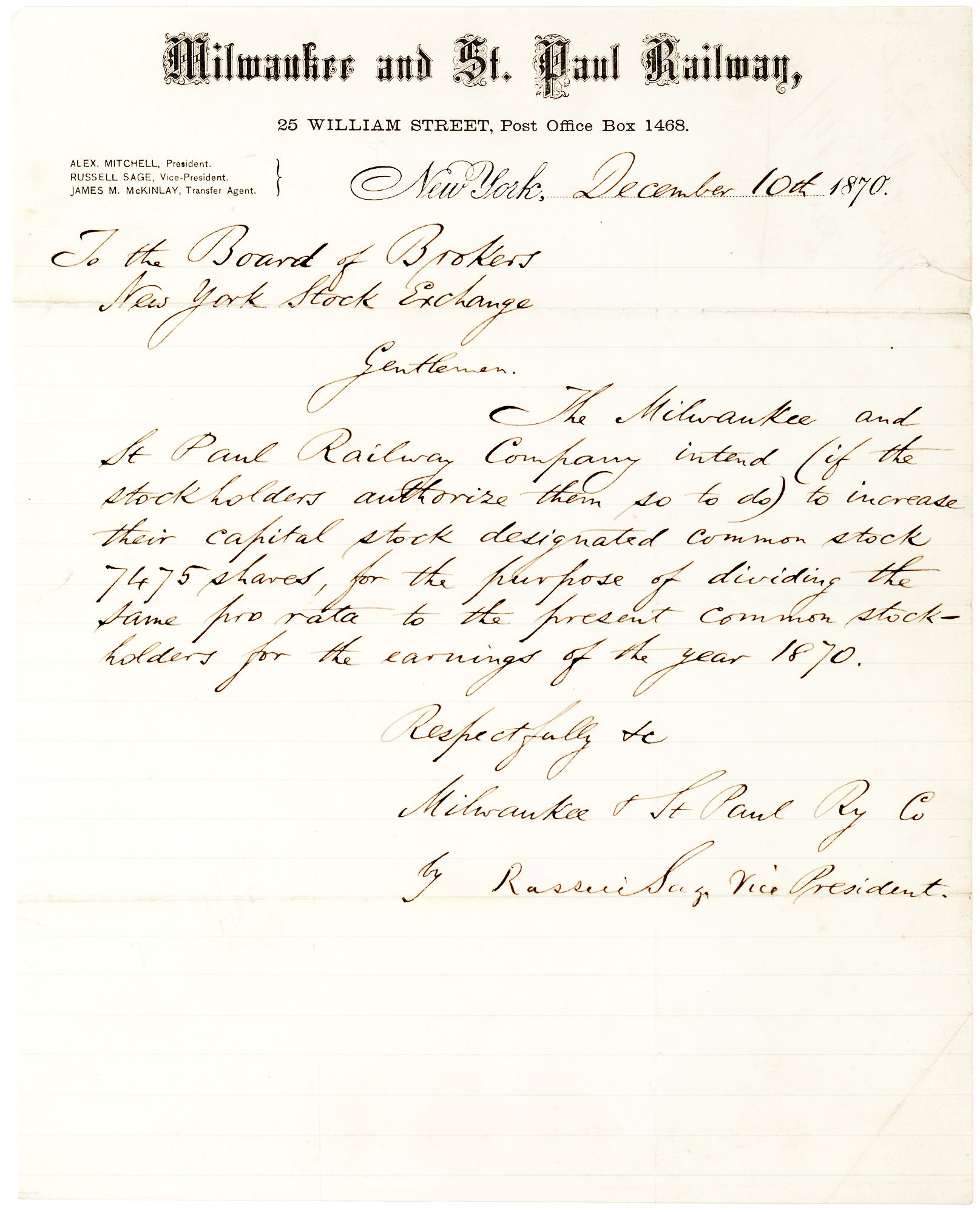 Railroad Mogul Writes to the New York Stock Exchange