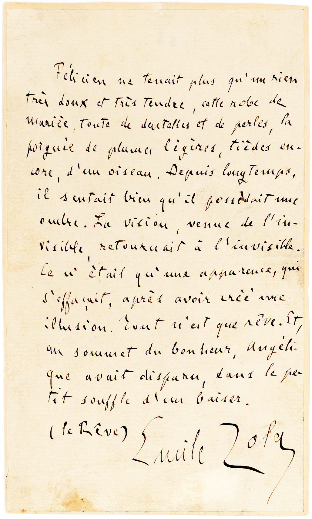 """Touching Full-Page Manuscript Quoting the Final Lines of his Novel, """"La Reve"""""""