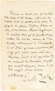 "37153Touching Full-Page Manuscript Quoting the Final Lines of his Novel, ""La Reve"""