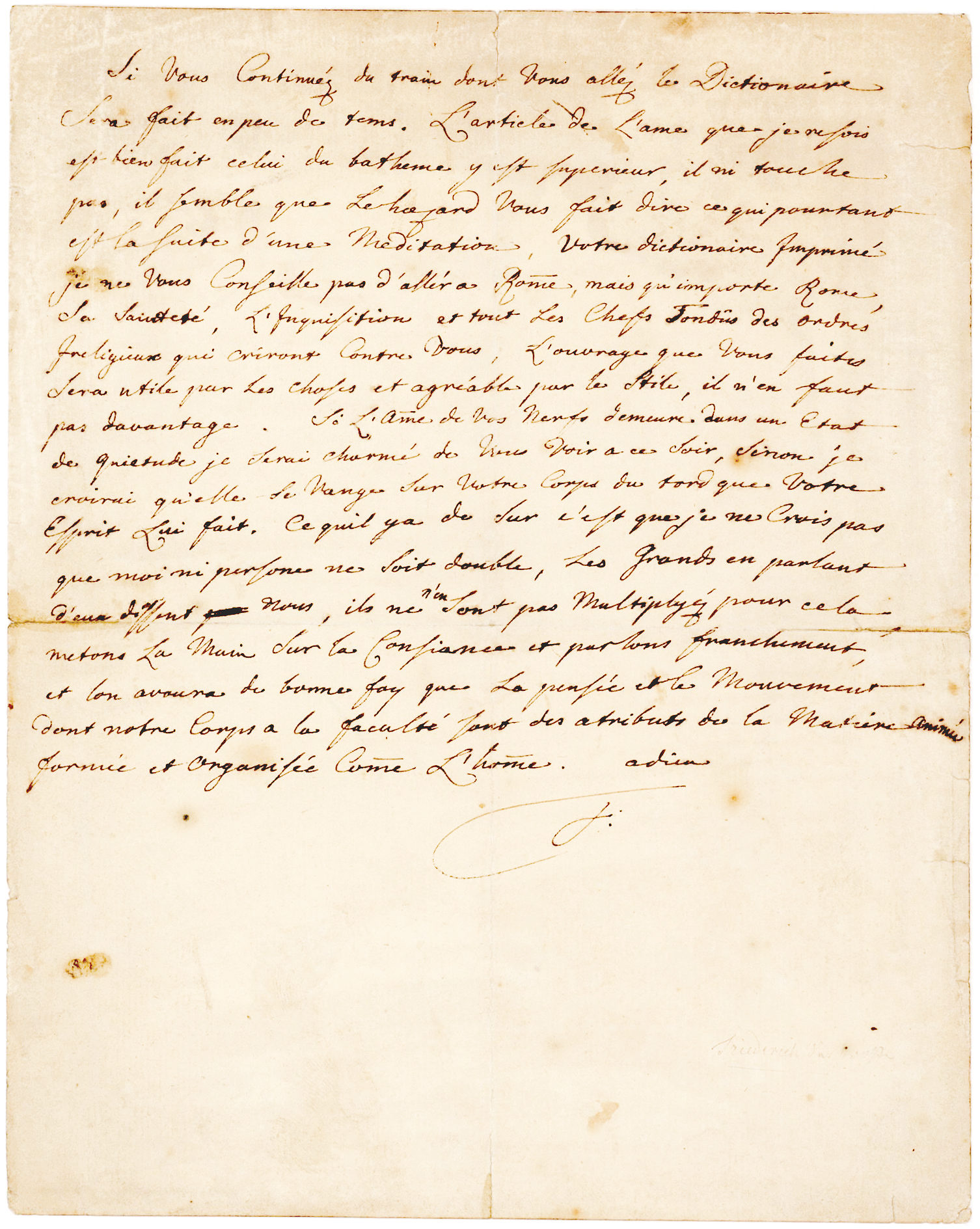 """Autograph Letter Signed to Voltaire: """"…what does Rome matter, His Holiness, the Inquisition, and all the Shaved Heads of the irreligious orders that will rail against you"""""""