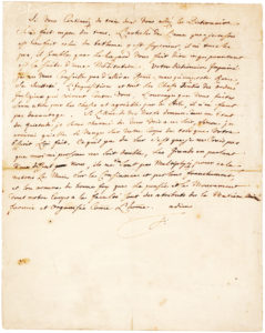 "37311Autograph Letter Signed to Voltaire: ""…what does Rome matter, His Holiness, the Inquisition, and all the Shaved Heads of the irreligious orders that will rail against you"""