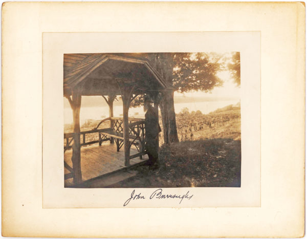 "John Burroughs Photographed Outside of his Cabin ""Slabsides"""