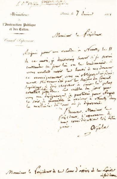 Handwritten Pasteur Letter Regarding Membership in the Prestigious Académie Française