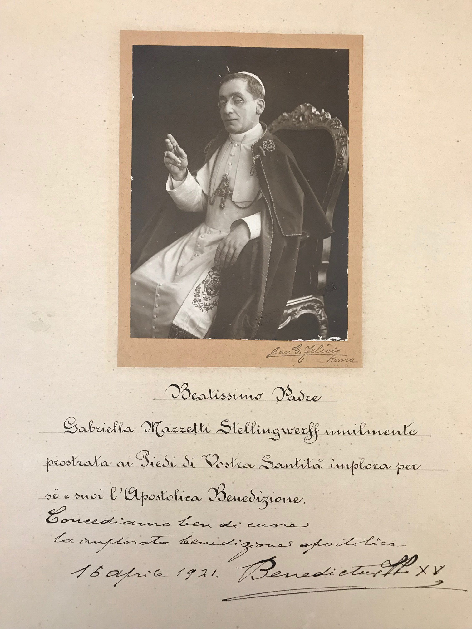 Papal Blessing on a Signed Photo