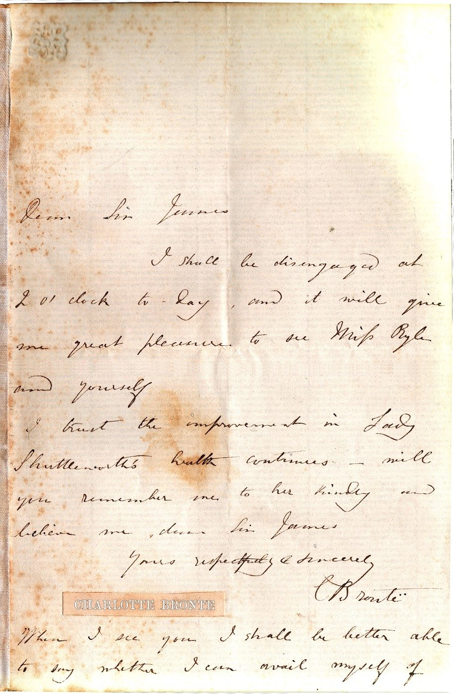 Exceptionally Rare ALS by Author of Jane Eyre