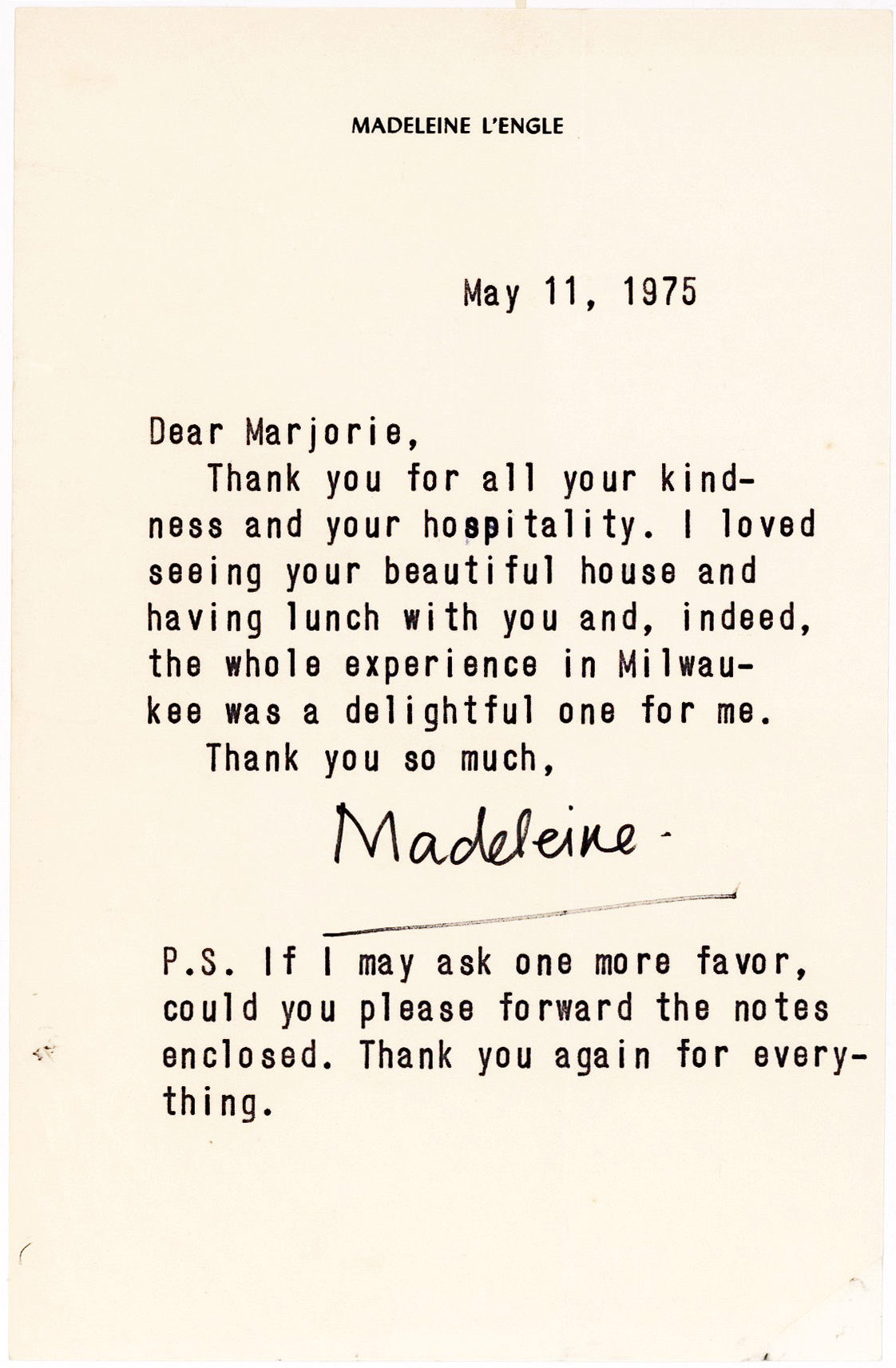 Rare Letter from the Author of A Wrinkle in Time