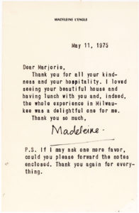 37775Rare Letter from the Author of A Wrinkle in Time