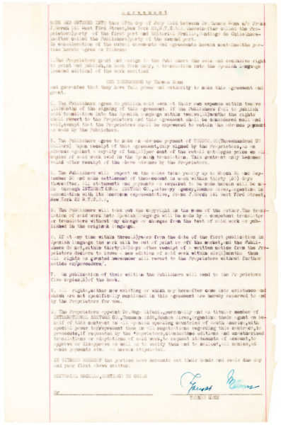 "Signed Document Authorizing the Sale of Spanish Language Rights to ""Tonio Kroeger"" and ""Mario und der Zauberer"""