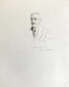 Exceptional Signed, Original Pen-and-Ink Portrait of American Treasury Secretary