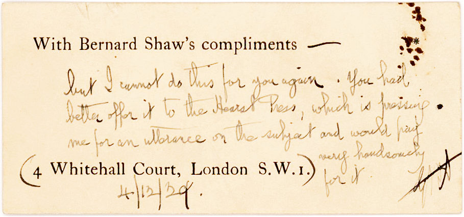 Autograph Note Signed Mentioning the Hearst Corporation