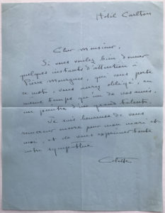 "37879Author of ""Gigi"" and ""Chéri,"" Writes a Letter of Recommendation for a Painter"