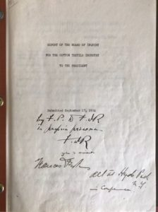 37673Signed Copy of His Commissioned Report on the 1934 Textile Industry Crisis