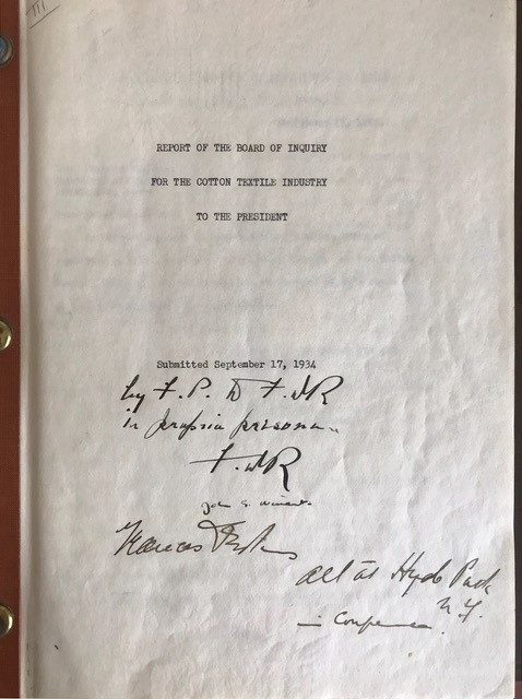Signed Copy of His Commissioned Report on the 1934 Textile Industry Crisis