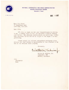 "37861Just Two Weeks after his Historic Space Flight:  ""The personal concern which you and so many others have expressed for me and  for my flight in Sigma 7 is very gratifying"""