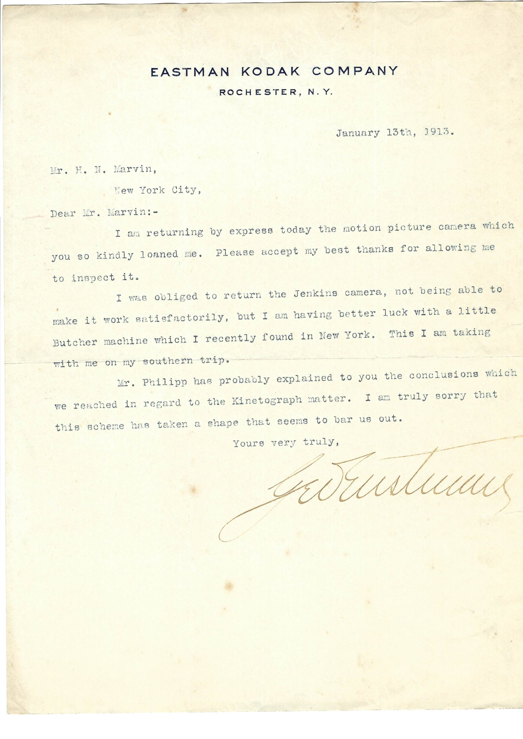 Fine George Eastman Letter with Motion Picture Content