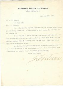 38038Fine George Eastman Letter with Motion Picture Content